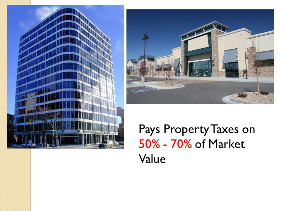 Pays Property Taxes on 50% - 70% of Market Value