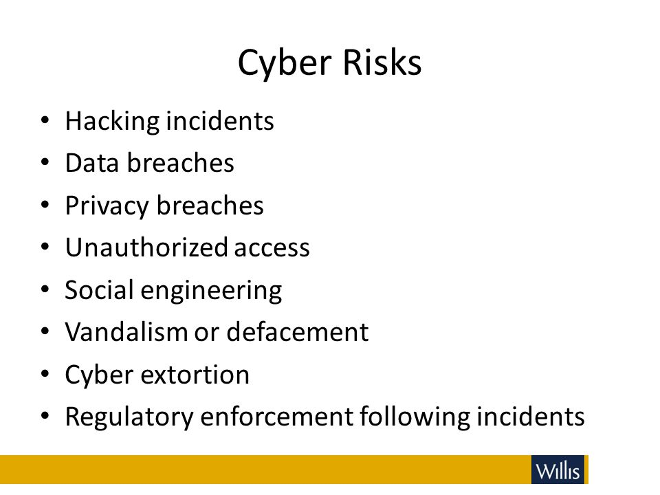 Cyber Risks Hacking incidents Data breaches Privacy breaches Unauthorized access Social engineering Vandalism or defacement Cyber extortion Regulatory