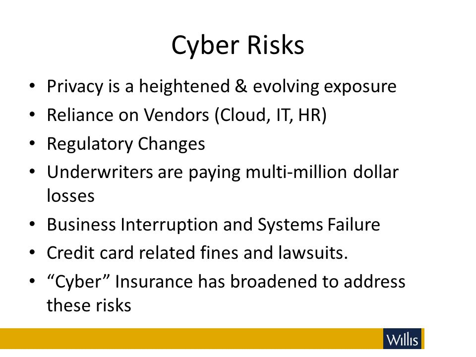 Cyber Risks Privacy is a heightened & evolving exposure Reliance on Vendors (Cloud, IT, HR) Regulatory Changes Underwriters are paying multi-million d
