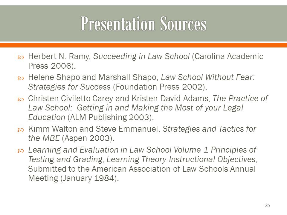  Herbert N. Ramy, Succeeding in Law School (Carolina Academic Press 2006).