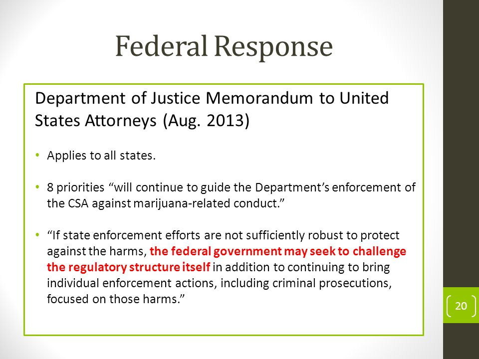 Federal Response Department of Justice Memorandum to United States Attorneys (Aug.