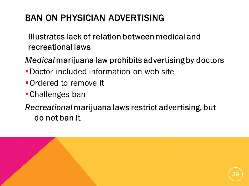 BAN ON PHYSICIAN ADVERTISING Illustrates lack of relation between medical and recreational laws Medical marijuana law prohibits advertising by doctors  Doctor included information on web site  Ordered to remove it  Challenges ban Recreational marijuana laws restrict advertising, but do not ban it 39