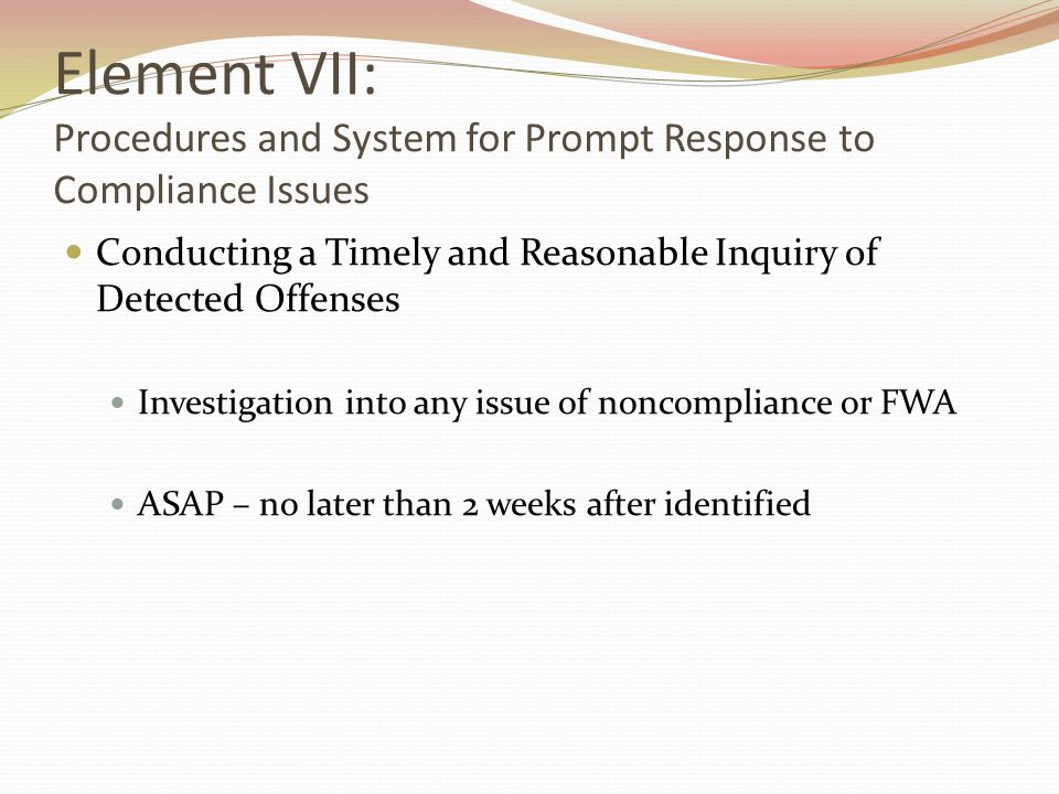 Element VII: Procedures and System for Prompt Response to Compliance Issues Conducting a Timely and Reasonable Inquiry of Detected Offenses Investigation into any issue of noncompliance or FWA ASAP – no later than 2 weeks after identified