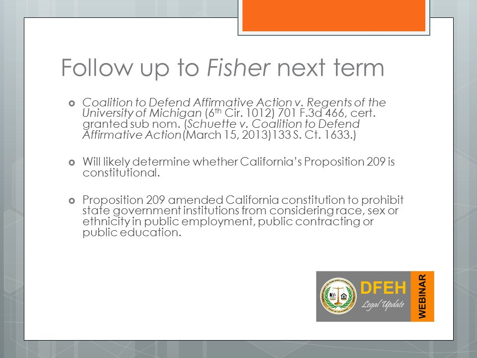 Follow up to Fisher next term  Coalition to Defend Affirmative Action v.