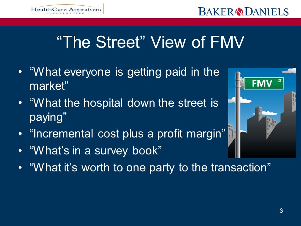 Professional Appraisal View of FMV The price, expressed in terms of cash equivalents, at which property would change hands between a hypothetical willing and able buyer and a hypothetical willing and able seller, acting at arm's length in an open and unrestricted market, when neither is under a compulsion to buy or sell and when both have reasonable knowledge of the relevant facts. (International Glossary of Business Valuation Terms) 4