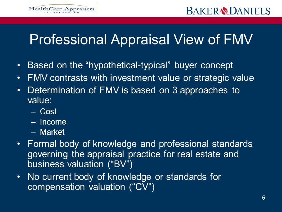 Legal/Regulatory View of FMV Stark Definition: FMV is defined as the value in arm's-length transactions, consistent with the general market value.