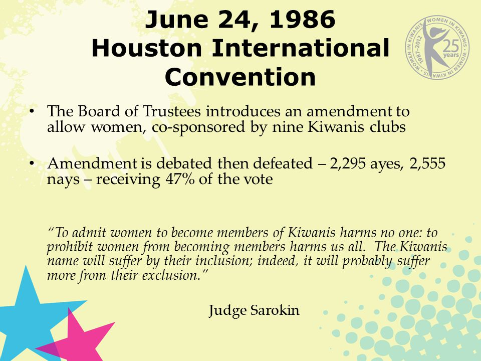 June 24, 1986 Houston International Convention The Board of Trustees introduces an amendment to allow women, co-sponsored by nine Kiwanis clubs Amendment is debated then defeated – 2,295 ayes, 2,555 nays – receiving 47% of the vote To admit women to become members of Kiwanis harms no one: to prohibit women from becoming members harms us all.
