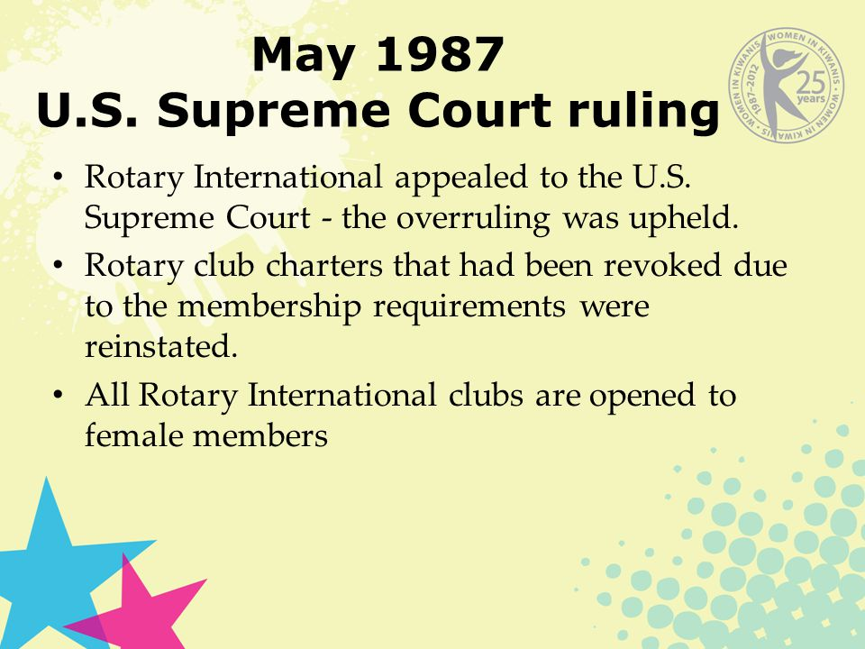 May 1987 U.S. Supreme Court ruling Rotary International appealed to the U.S.