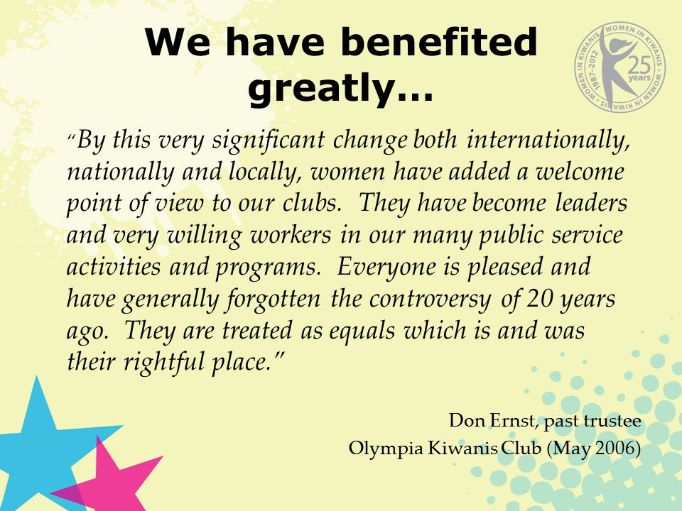 We have benefited greatly… By this very significant change both internationally, nationally and locally, women have added a welcome point of view to our clubs.