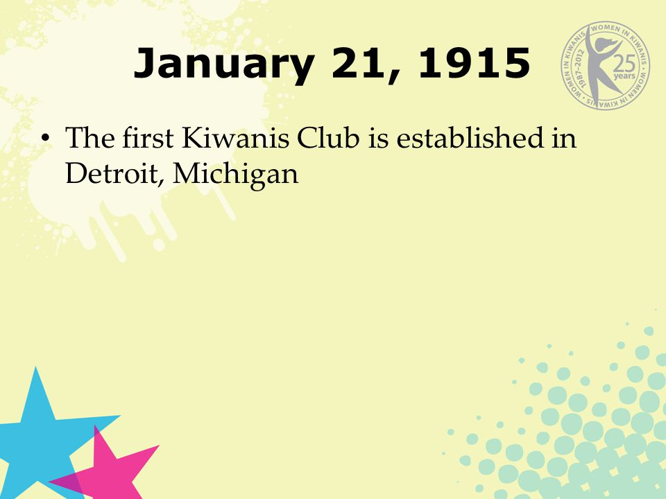 January 21, 1915 The first Kiwanis Club is established in Detroit, Michigan