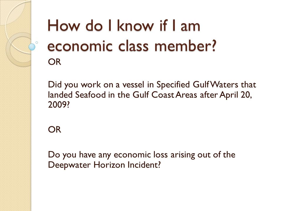 How do I know if I am economic class member.