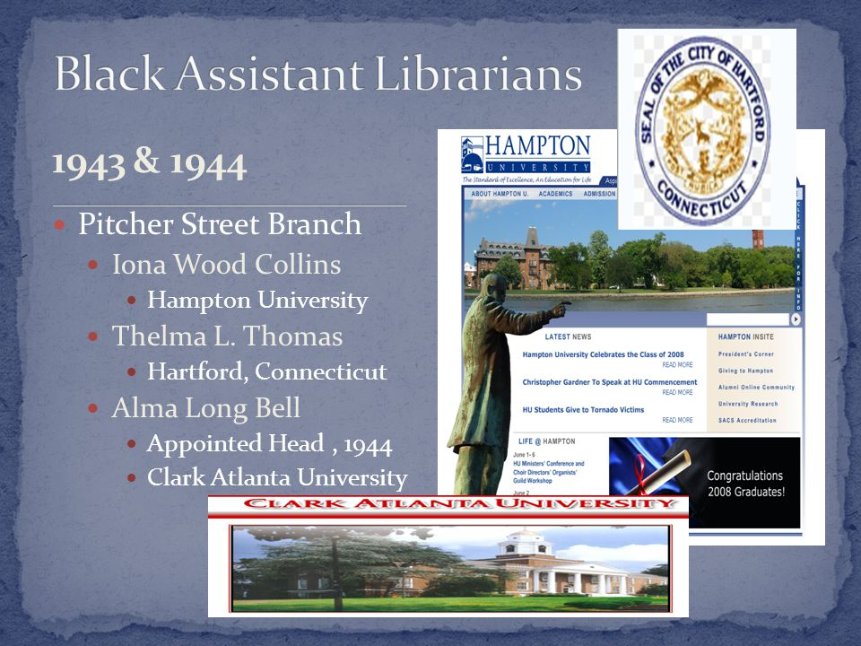1943 & 1944 Pitcher Street Branch Iona Wood Collins Hampton University Thelma L.