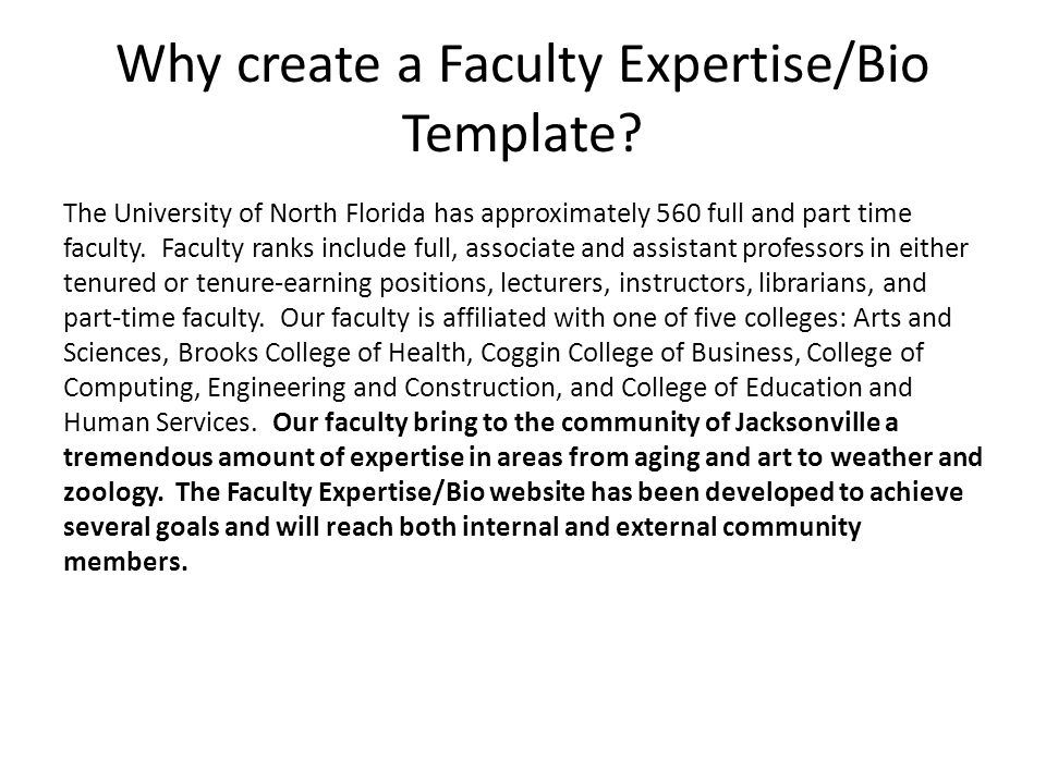 Why create a Faculty Expertise/Bio Template.