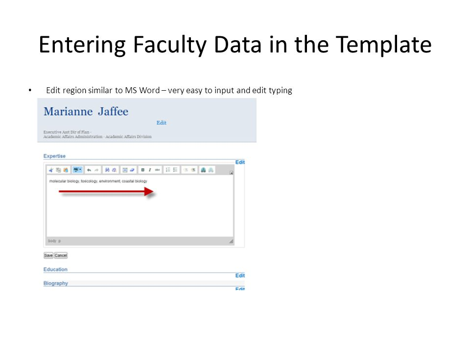 Entering Faculty Data in the Template Edit region similar to MS Word – very easy to input and edit typing