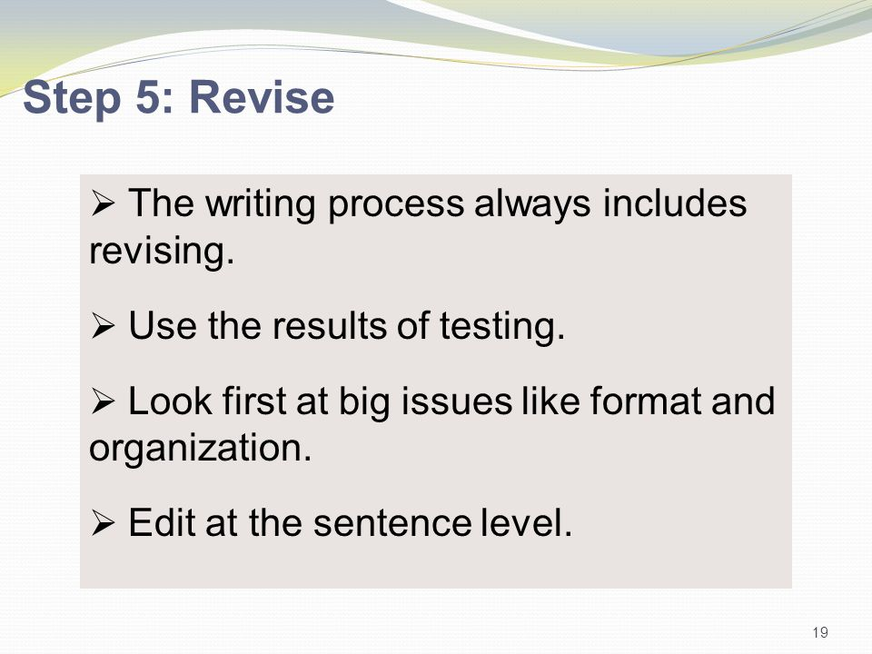 The writing process always includes revising.  Use the results of testing.