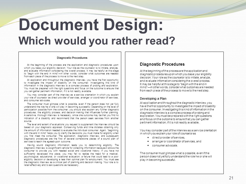 Document Design: Which would you rather read.