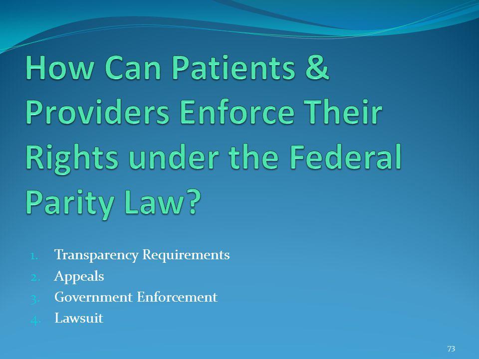 1. Transparency Requirements 2. Appeals 3. Government Enforcement 4. Lawsuit 73