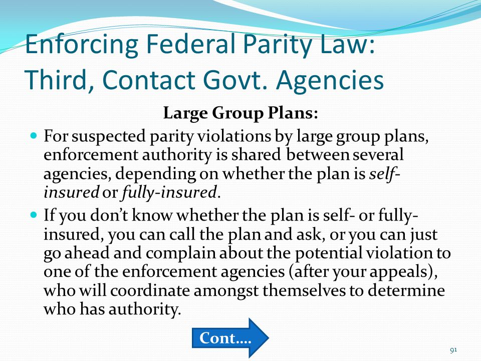 Enforcing Federal Parity Law: Third, Contact Govt.