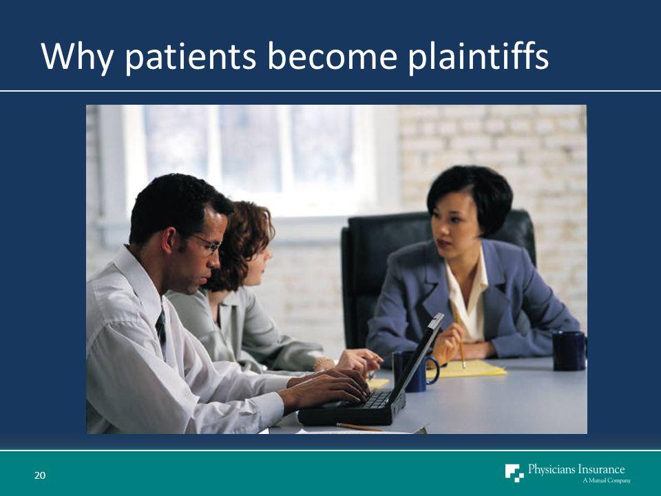 Why patients become plaintiffs 20