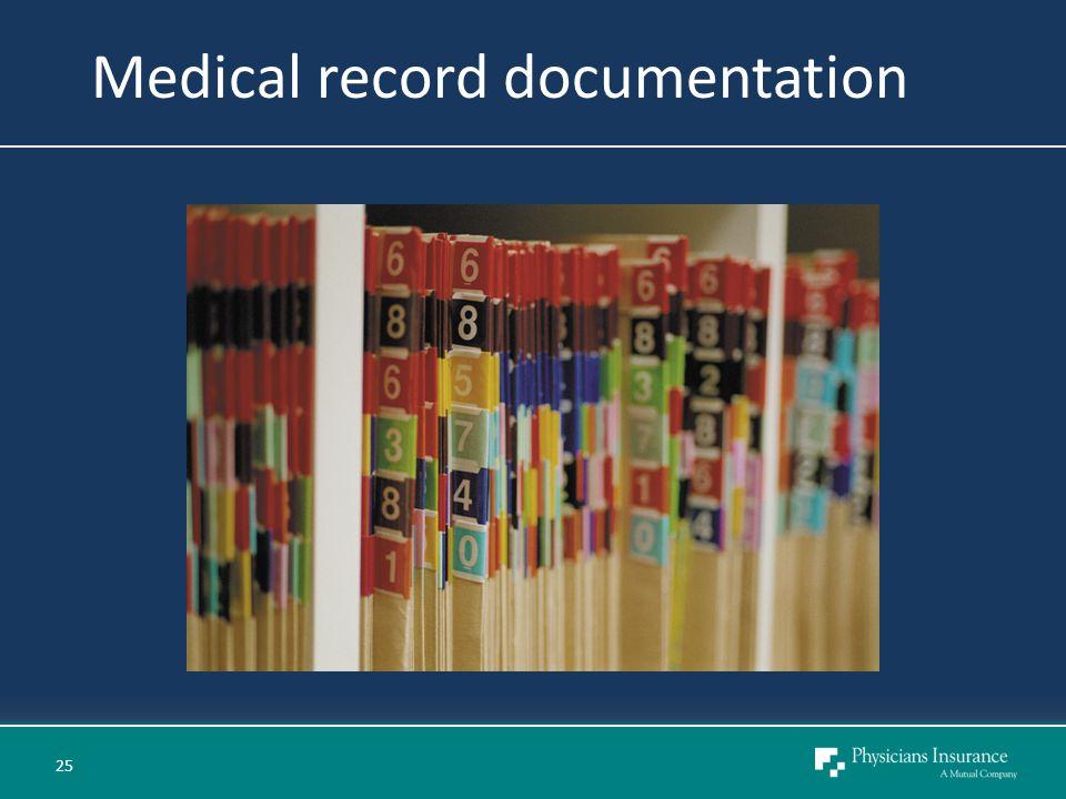 Medical record documentation 25