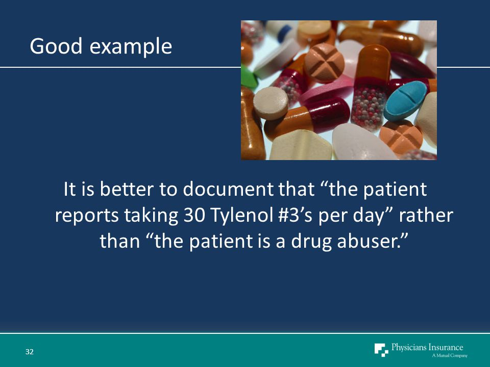 Good example It is better to document that the patient reports taking 30 Tylenol #3's per day rather than the patient is a drug abuser. 32