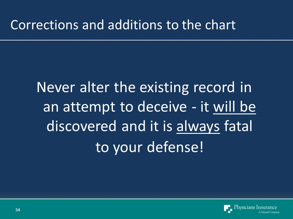 Corrections and additions to the chart Never alter the existing record in an attempt to deceive - it will be discovered and it is always fatal to your defense.