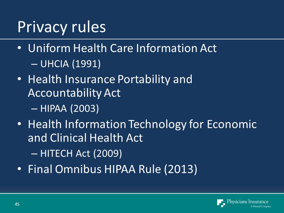 Privacy rules Uniform Health Care Information Act – UHCIA (1991) Health Insurance Portability and Accountability Act – HIPAA (2003) Health Information Technology for Economic and Clinical Health Act – HITECH Act (2009) Final Omnibus HIPAA Rule (2013) 45