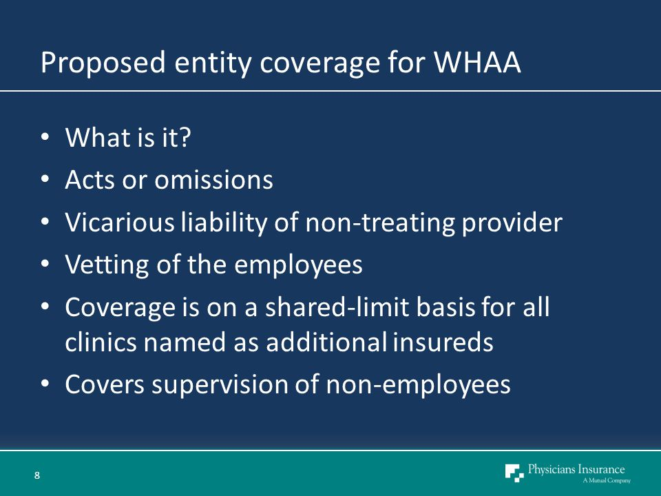 Proposed entity coverage for WHAA What is it.
