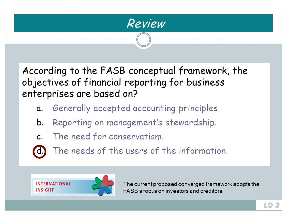 The current proposed converged framework adopts the FASB's focus on investors and creditors.