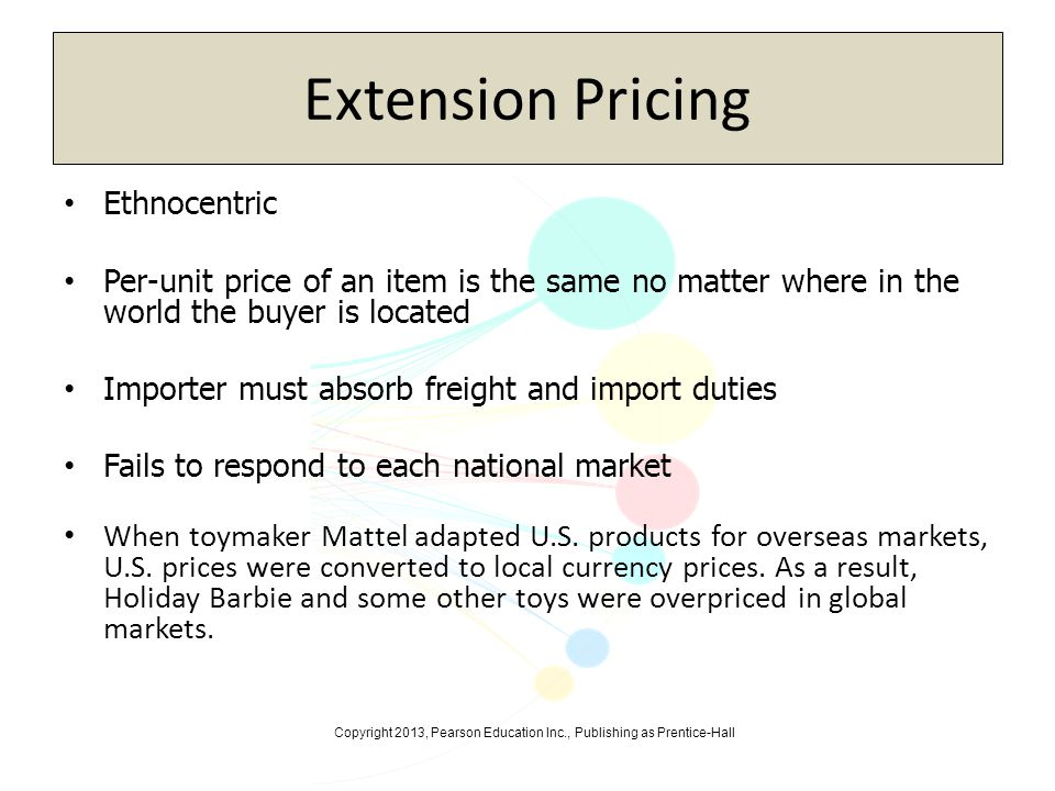Copyright 2013, Pearson Education Inc., Publishing as Prentice-Hall Extension Pricing Ethnocentric Per-unit price of an item is the same no matter whe