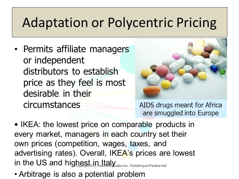 Copyright 2013, Pearson Education Inc., Publishing as Prentice-Hall Adaptation or Polycentric Pricing Permits affiliate managers or independent distri