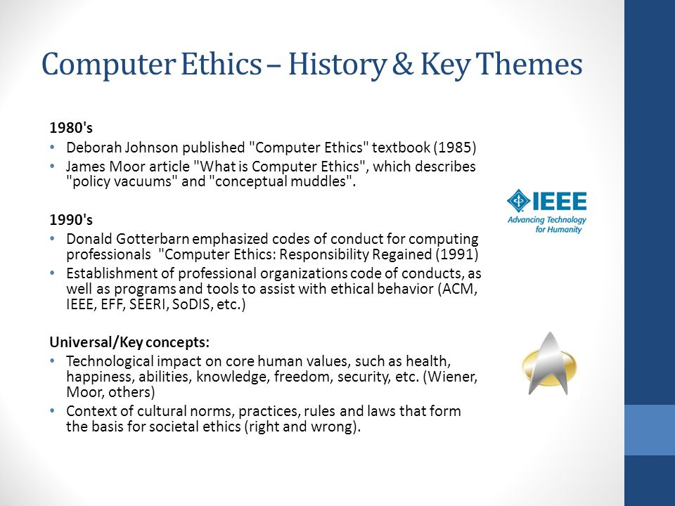 Computer Ethics – History & Key Themes 1980's Deborah Johnson published