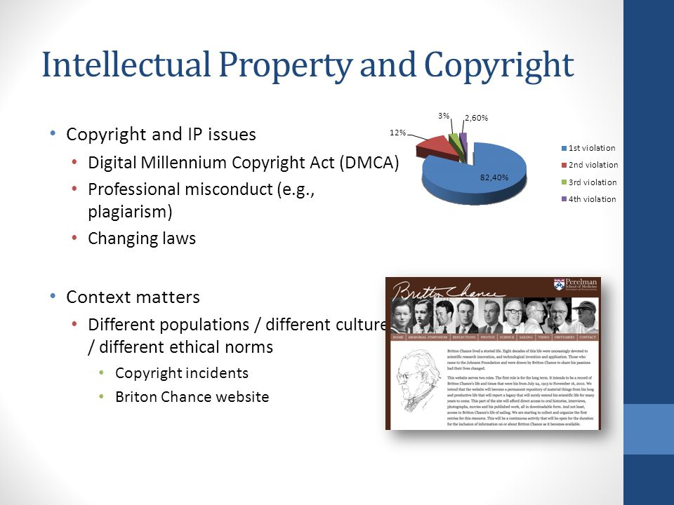Intellectual Property and Copyright Copyright and IP issues Digital Millennium Copyright Act (DMCA) Professional misconduct (e.g., plagiarism) Changing laws Context matters Different populations / different cultures / different ethical norms Copyright incidents Briton Chance website