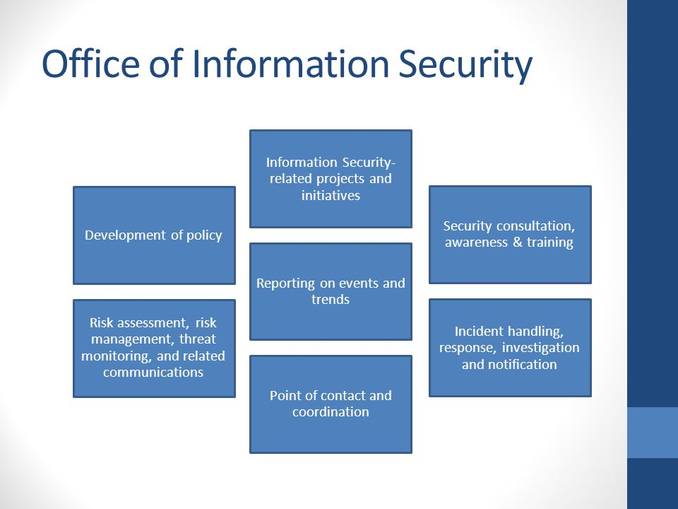 Information Security Services Development of policy Information Security- related projects and initiatives Security consultation, awareness & training