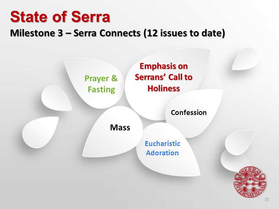 Emphasis on Serrans' Call to Holiness Confession Eucharistic Adoration Mass Prayer & Fasting State of Serra Milestone 3 – Serra Connects (12 issues to date) 15