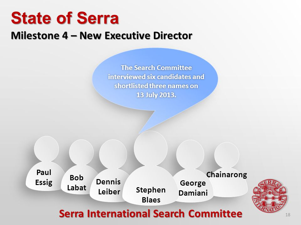 The Search Committee interviewed six candidates and shortlisted three names on 13 July 2013.13 July 2013.
