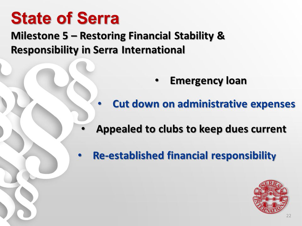 Emergency loan Emergency loan State of Serra Milestone 5 – Restoring Financial Stability & Responsibility in Serra International Appealed to clubs to