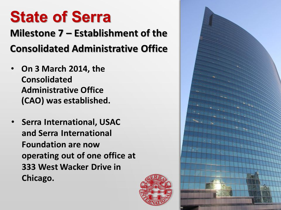 On 3 March 2014, the Consolidated Administrative Office (CAO) was established.