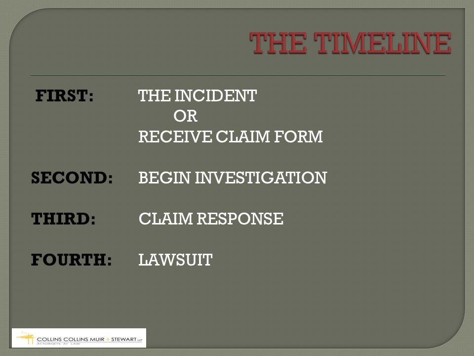 FIRST: THE INCIDENT OR RECEIVE CLAIM FORM SECOND: BEGIN INVESTIGATION THIRD: CLAIM RESPONSE FOURTH: LAWSUIT
