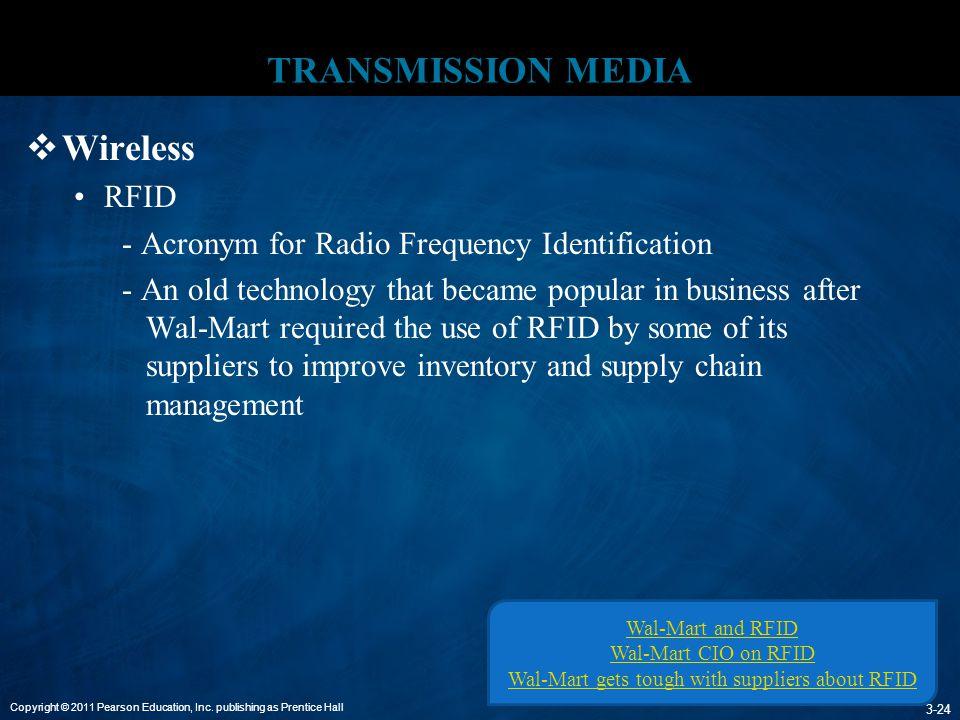 Copyright © 2011 Pearson Education, Inc. publishing as Prentice Hall 3-24 TRANSMISSION MEDIA  Wireless RFID - Acronym for Radio Frequency Identificat