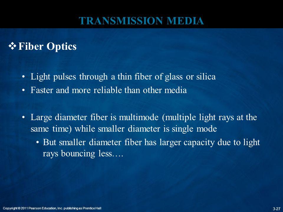 Copyright © 2011 Pearson Education, Inc. publishing as Prentice Hall 3-27 TRANSMISSION MEDIA  Fiber Optics Light pulses through a thin fiber of glass