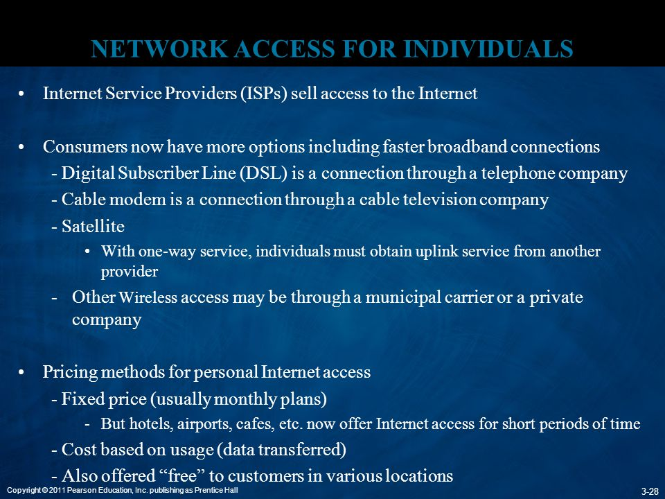 Copyright © 2011 Pearson Education, Inc. publishing as Prentice Hall 3-28 NETWORK ACCESS FOR INDIVIDUALS Internet Service Providers (ISPs) sell access