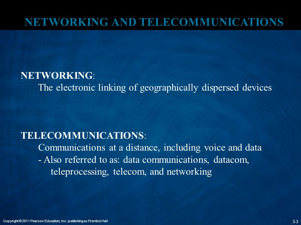 Copyright © 2011 Pearson Education, Inc. publishing as Prentice Hall 3-3 NETWORKING AND TELECOMMUNICATIONS. NETWORKING: The electronic linking of geog