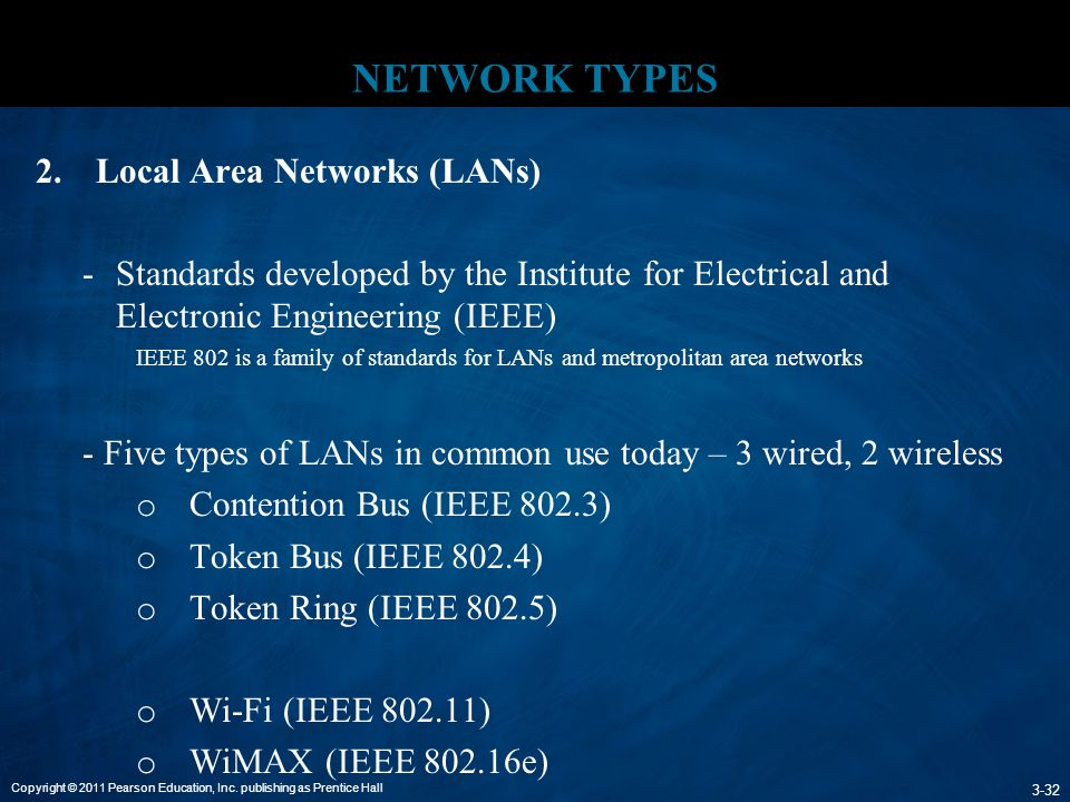 Copyright © 2011 Pearson Education, Inc. publishing as Prentice Hall 3-32 NETWORK TYPES 2.Local Area Networks (LANs) -Standards developed by the Insti