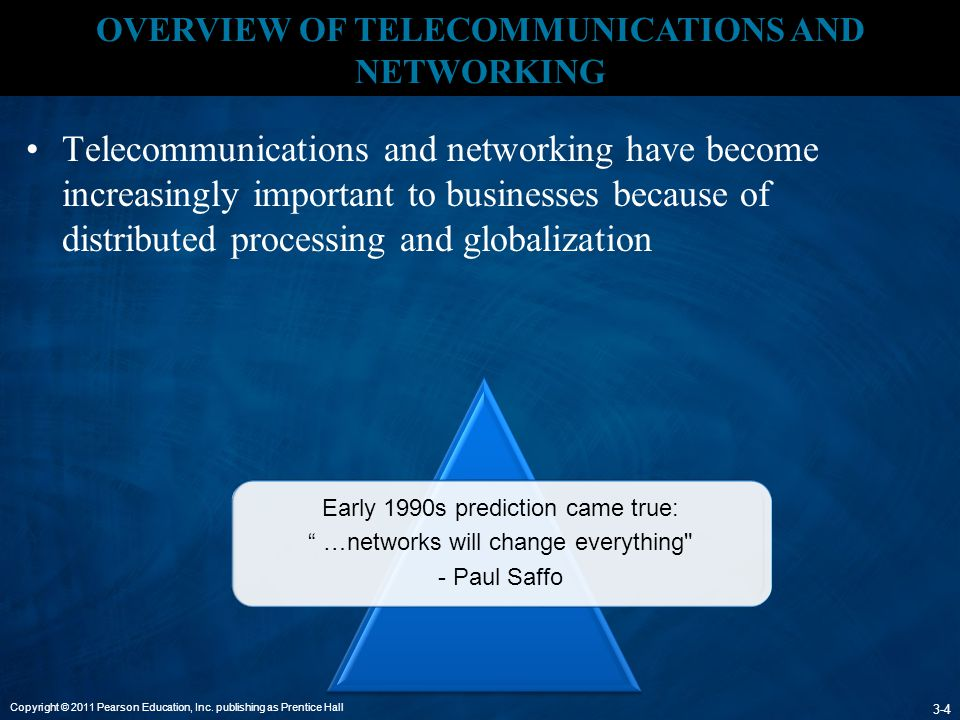 Copyright © 2011 Pearson Education, Inc. publishing as Prentice Hall 3-4 OVERVIEW OF TELECOMMUNICATIONS AND NETWORKING Telecommunications and networki