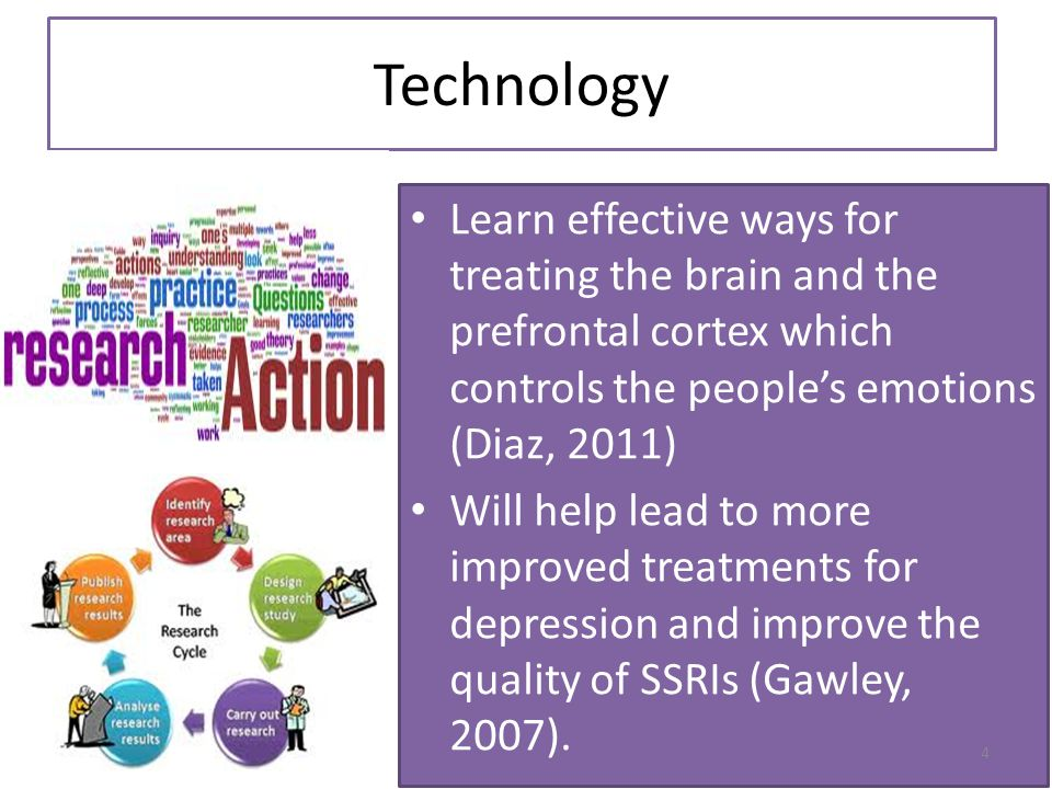 Technology Learn effective ways for treating the brain and the prefrontal cortex which controls the people's emotions (Diaz, 2011) Will help lead to m