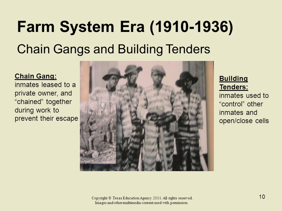 """Farm System Era (1910-1936) Chain Gangs and Building Tenders Chain Gang: inmates leased to a private owner, and """"chained"""" together during work to prev"""