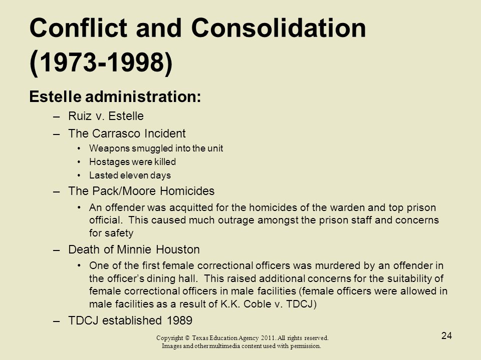 Conflict and Consolidation ( 1973-1998) Estelle administration: –Ruiz v. Estelle –The Carrasco Incident Weapons smuggled into the unit Hostages were k