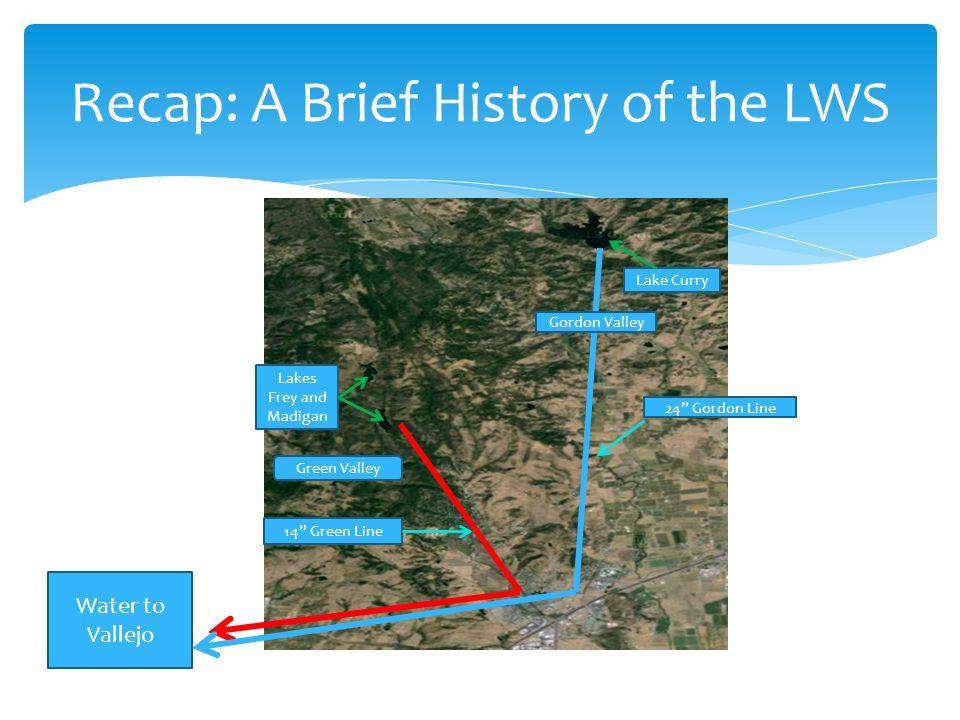 "Water to Vallejo Lakes Frey and Madigan Lake Curry Green Valley Gordon Valley 24"" Gordon Line 14"" Green Line"