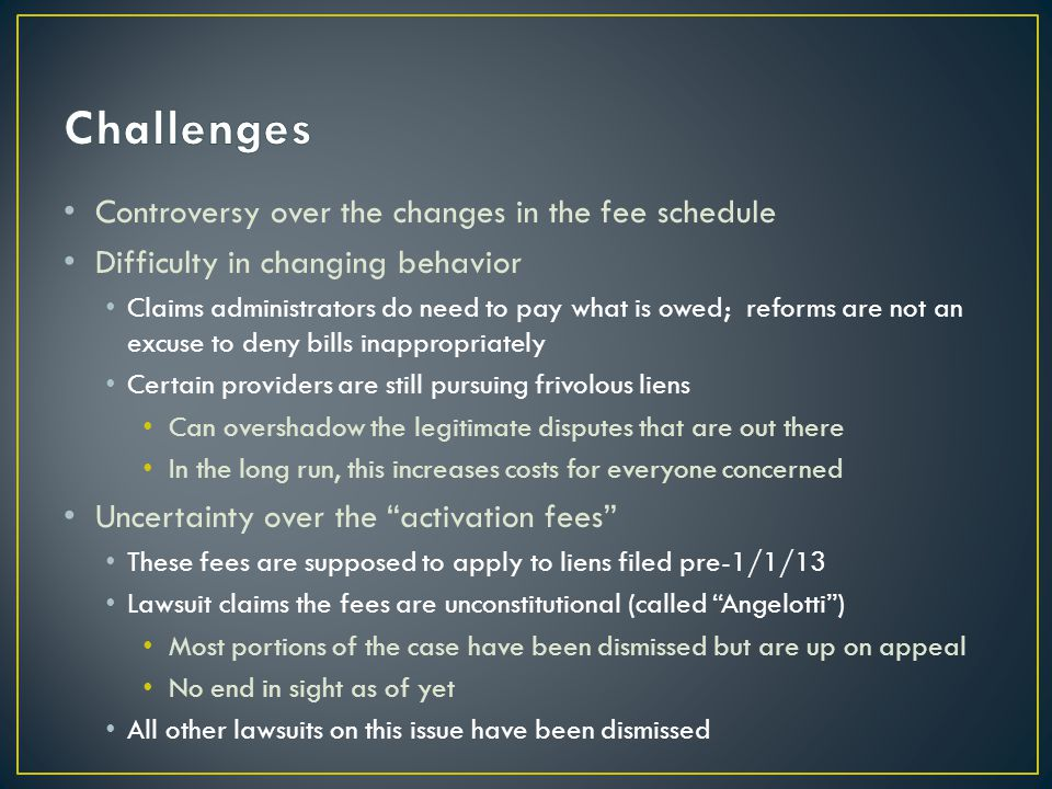 Controversy over the changes in the fee schedule Difficulty in changing behavior Claims administrators do need to pay what is owed; reforms are not an excuse to deny bills inappropriately Certain providers are still pursuing frivolous liens Can overshadow the legitimate disputes that are out there In the long run, this increases costs for everyone concerned Uncertainty over the activation fees These fees are supposed to apply to liens filed pre-1/1/13 Lawsuit claims the fees are unconstitutional (called Angelotti ) Most portions of the case have been dismissed but are up on appeal No end in sight as of yet All other lawsuits on this issue have been dismissed